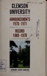 Clemson Catalog, 1969-1970, Volume 45