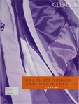 Clemson Graduate School Catalog, 1996-1997 by Clemson University