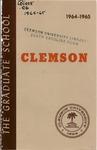Clemson Graduate School Catalog, 1964-1965