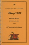 Clemson A&M College Class of 1939 Reunion Program 2003