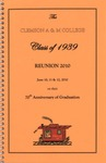 Clemson A&M College Class of 1939 Reunion Program 2010