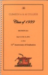 Clemson A&M College Class of 1939 Reunion Program 2011