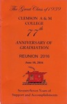 Clemson A&M College Class of 1939 Reunion Program 2016 by Clemson University