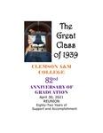 Clemson A&M College Class of 1939 Reunion Program 2021